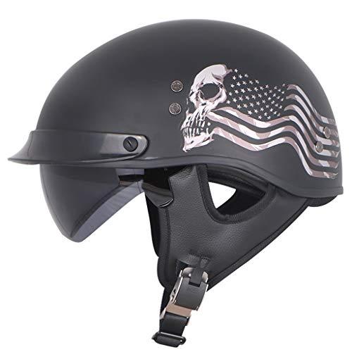 GAOZHE Adultos Cascos Half-Helmet, Retro Casco Moto Helmet, Vintage Cascos Abiertos de Motocicleta, Scooter Protección Casco Motocicleta Cruiser Biker, para Montar Ciclismo, Cruiser Chopper Scooter