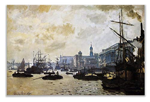 Monet Wall Art Collection Canvas Port of London, 1871 Prints Wrapped Gallery Wall Art
