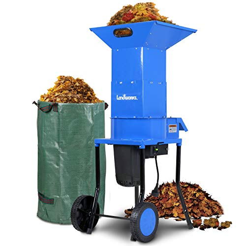 """Landworks Leaf Mulcher Shredder Electric Green and Waste Management Heavy Duty 120V AC 11"""" Inch Cutting Blade .5"""" Inch Cutting Capacity for Leaves, Grass, & Clippings"""