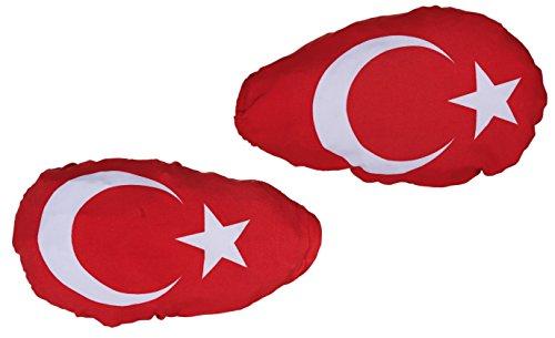 OOTB 2er Set Türkei Außenspiegelfahne Autoflagge Fahne Flagge Außenspiegelflagge