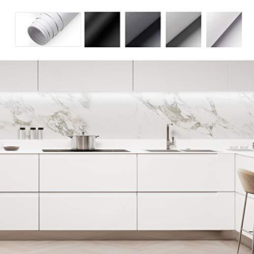 PROHOUS Verdickte Klebefolie Selbstklebende Möbelaufkleber DIY Matte Möbelfolie 0.61 * 5M aus PVC Küchenschrank Schneidbar Folie Weiß Dekorfolie für Möbel Küche Schrank