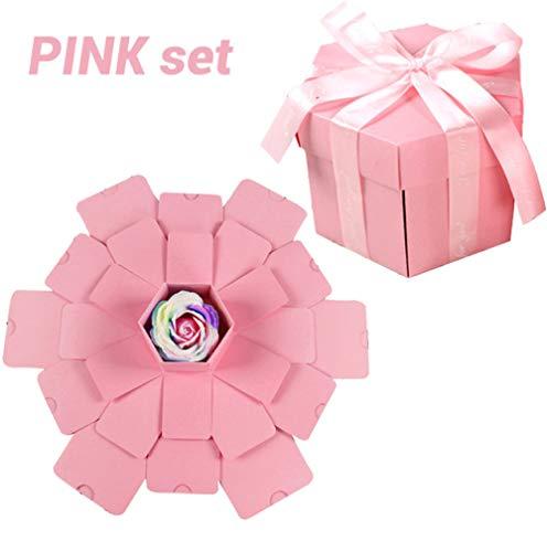 geschenkdoos LKU Hexagon Surprise Explosion Box Postboek Album Wedding Gift Box Valentijnsdag Christmas Gift Box, roze set