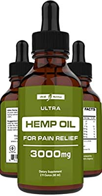 Hemp Oil for Pain Relief (3000mg - 120 Servings) Hemp Extract w/Anxiety Relief, Stress Relief, Arthritis Pain Relief - Best Hemp Oil Extract for Pain, Anxiety Oil + Organic Hemp Drops - Made in USA from Ultra6 LLC