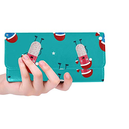 Rfid Blocking Purse Pocket Wallets For Women Pills Funny Design Pattern Women Wallets Small Trifold Leather Money Clip Wallet For Women Credit Card Holder Case Handbag