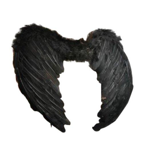 43cm Wide Angel Fairy Feather Wings in Black