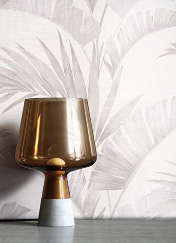 NEWROOM Tapete Tropical Palmenblätter Palme grau Vliestapete Vlies moderne Mustertapete Tapete Blumentapete Modern inkl. Tapezier Ratgeber