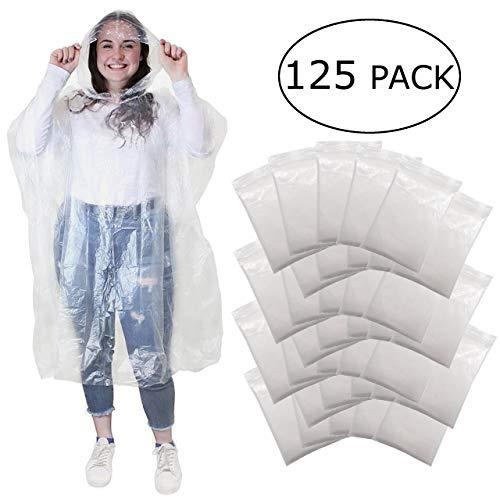 Regenponcho - wegwerp poncho met capuchon- regen poncho voor dames, heren en kinderen - transparant, plastic en waterdicht voor festival, concert, camping, fiets, wandelen - 125 stuks