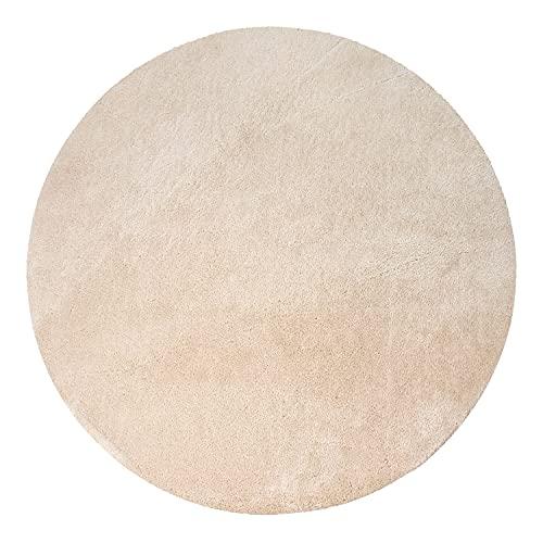 Tappeto Salotto Pelo Corto Rotondo Moderno Morbido Lavabile Monocolore, Dimensione:Ø 120 cm Tondo, Colore:Beige