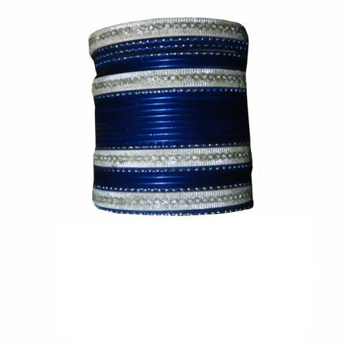 Indische Bangles 24 Armreifen Lovely dunkelblau 7 cm mit Bindis Bollywood Sari Schmuck