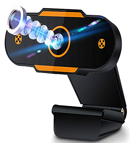 Aode Webcam 1080P con micrófono, webcamera USB, Plug & Play, para PC, portátil, Streamcam, autoenfoque, cámara web, para streaming en directo, videollaming, grabación, estudios y conferencias