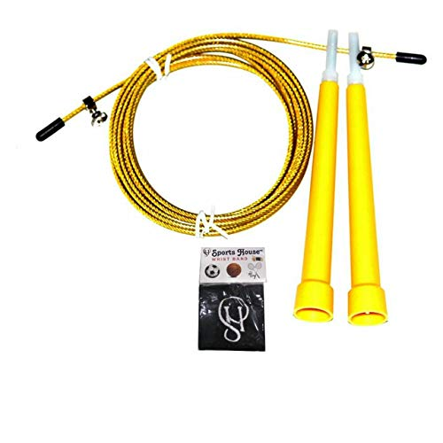 Konex Jump Rope for Skipping Yellow Colour with Sports House Wrist Band (Adjustable Speed Rope)