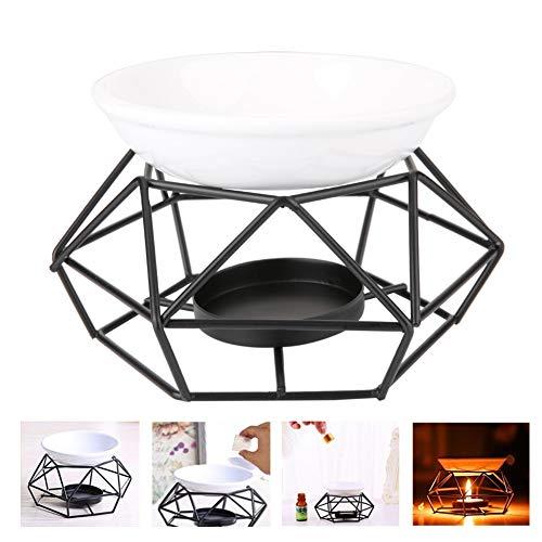 Bruciatore di olio essenziale, essenziale in ghisa ceramica geometrica, bruciatore ad aroma olio per la casa