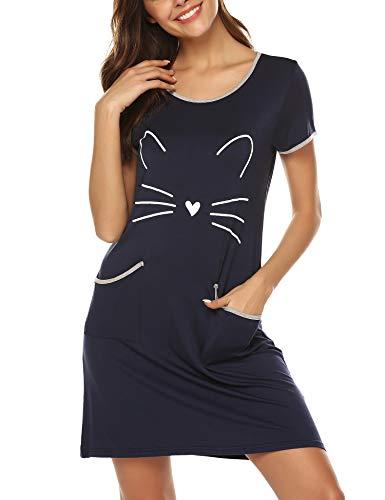 BESDEL Damen Soft Sleepwear Schlafhemd O Neck Short Sleeve Zwei Taschen Nachthemd Navy Blue S