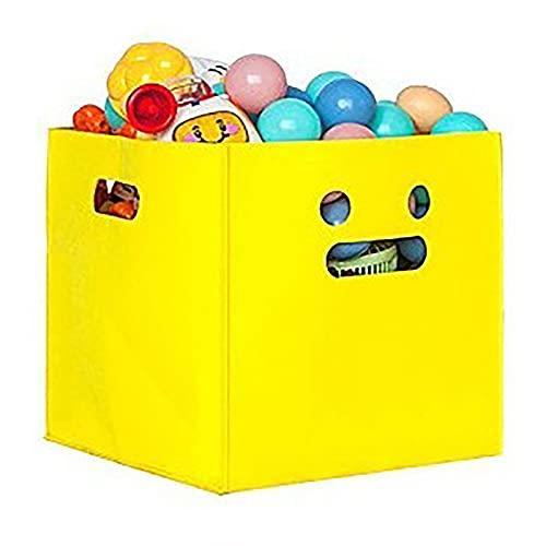 Onlyup Caja plegable para juguetes para niños, 30 x 30 x 30 cm, color amarillo