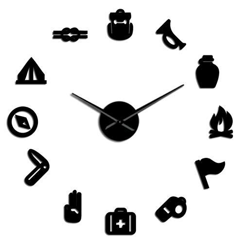 Camping Scouting DIY Reloj de Pared Gigante Junior Kids Scout Campfire Reloj de Pared Exclusivo Reloj de Gran Tiempo Agujas Grandes Efecto de Espejo Negro 47 Pulgadas