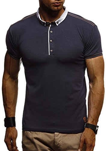 Leif Nelson Herren Sommer T-Shirt Polo Kragen Slim Fit Baumwolle-Anteil Basic schwarzes Männer Poloshirts Longsleeve-Sweatshirt Kurzarm Weißes Kurzarmshirts lang LN1310 Dunkel Blau XX-Large