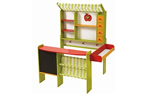 roba Kaufladen 'Marktstand', Kinder Kaufmannsladen, Holz grün/rot, Verkaufsstand mit Theke, Tafel, Seitentheke & Markise