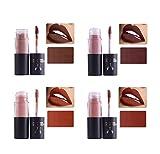 4 Colors Lip Glosses Set, Natural Liquid Matte Lipstick, Non-Stick Cup Moisturize and Long Lasting Make Up Lip Gloss, Waterproof Lipgloss (#1,#2,#3,#4)