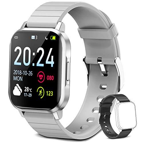 Smartwatch für Damen Herren Kinder, Fitness Armbanduhr 1,4 Zoll Touchscreen, Fitnessuhr Fitness Tracker mit Schrittzähler, Herzfrequenzmesser, Schlafmonitor, Smart Watch für iOS Android Handy (Grau)