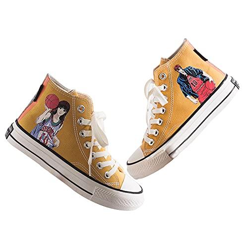 Vngbds Zapatos de Lona Slam Dunk Zapatos de Anime Zapatillas Altas Zapatillas de Suela de Goma for Estudiantes Casuales con Cordones Zapatos Planos para Estudiantes Adultos