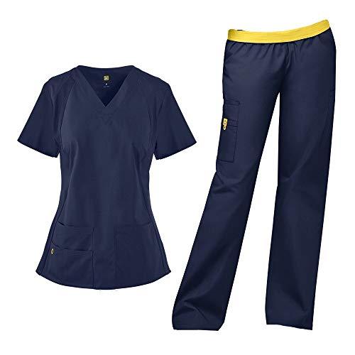 WonderWink Origins Women's Lima 5 Pocket V-Neck Top 6096 & Quebec Full Elastic Cargo Pants 5016 Scrub Set (Navy - XX-Large/XL Tall)