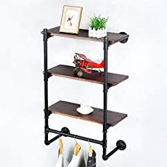 Industrial Pipe Clothing Rack Wall Mounted Real Wood Shelf,Pipe Shelving Floating Shelves Wall Shelf,Rustic Retail Garment Rack Display Rack Cloths Rack,SteamPunk Commercial Clothes Racks(3 Tier,24in) #4