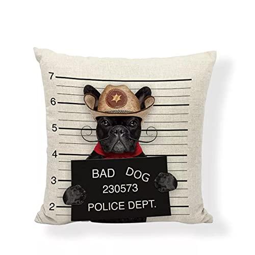 Funda Cojine sofá Decorar Funda Almohada Funda de cojín con sombrero de caballero realista Pug Schnauzer perro pobre 45x45 cm perro malo decor de oficina en casa funda de almohada de lino con precio