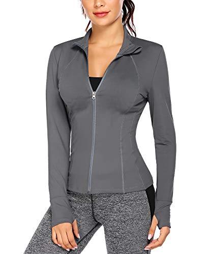 COOrun Womens Workout Jackets Lightweight Zipper Jacket Warm-up Sports Tops Thumb Holes Activewear, Medium