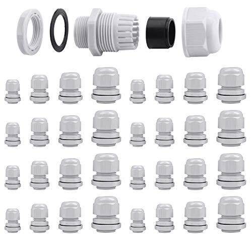 32 st kabelförskruvningar vattentäta, ARPDJK justerbar 3-15 mm plast IP68 kabelförskruvning blandade, grå fyllning körtel kontakt, M12, M16, M20, M25