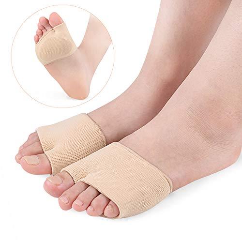 1 par de almohadillas de gel para metatarsalgia de tela con fractura para dedos de los pies con suela y funda de metatarso antideslizante para zapatos