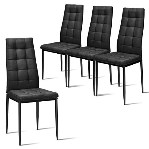 Giantex Set of 4 Fabric Dining Chairs Set, with Upholstered Cushion & High Back, Powder Coated Metal Legs, Checked Pattern Seats, Household Home Kitchen Living Room Bedroom (Black)