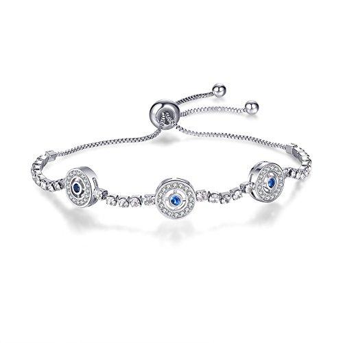 SMCTCRED Brazalete Ajustable de la Pulsera de Mal de Ojo Hecho 925 Cristales Azules de Plata esterlina, Oro Blanco Plateado, Regalo para Mujer (Plata)