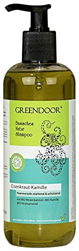 500ml GROSS-Packung Greendoor Natur Shampoo Eisenkraut Kamille für strapaziertes Haar, natürlich OHNE Tierversuche Sulfate Silikone Konservierungsmittel, basische Haarpflege, Naturkosmetik Haarwäsche