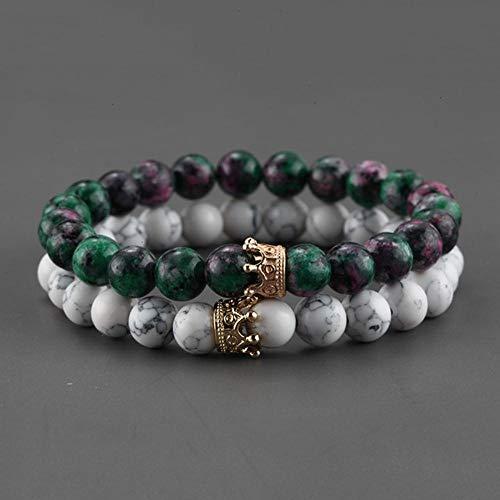 Sosa 2 Stück Paar Armband für Männer Gold Crown Damen Armbänder Naturstein Perlen Armband Boho Paar Armband Geschenke Freunde, Stil 16, XL 215mm