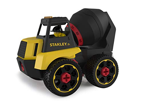 Stanley Jr Take Apart Cement Mixer Kit for Kids TT003-SY: Children's 23 Piece Yellow STEM Construction Toy Truck with Figure Screwdriver Bolts, Ages 3+