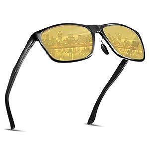 サングラス メガネ 夜間 運転 偏光 イエロー 黄色い レンズ Soxick ドライブ 雨天 防眩効果 スポーツ UVカット メタル フレーム ギフト プレゼント 8638(イエロー1)