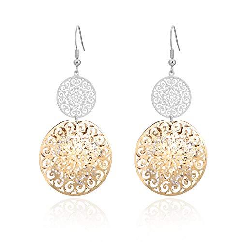 Orecchino a pendente per donna, orecchino a goccia cava con inserto in oro o argento di cristallo con strass (Placcato argento e oro)