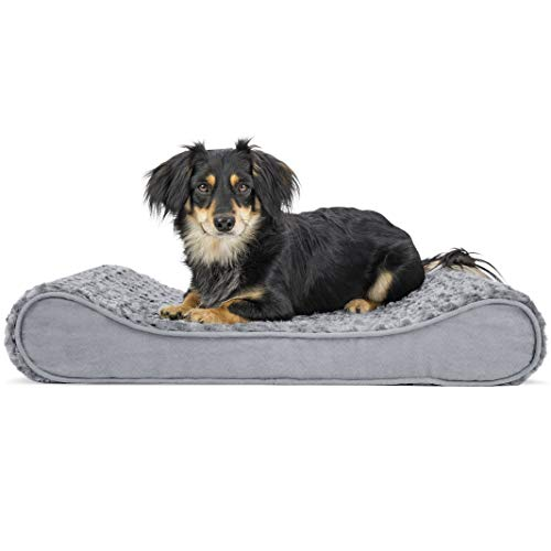 Furhaven Pet Dog Bed - Orthopedic Ultra Plush Faux Fur Ergonomic Luxe Lounger Cradle Mattress Contour Pet Bed with Removable Cover for Dogs and Cats, Gray, Medium