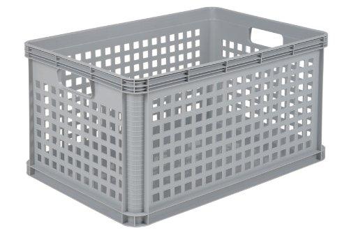 OKT - Cesta contenedora apilable (plástico, 64 l, 3 unidades), color gris