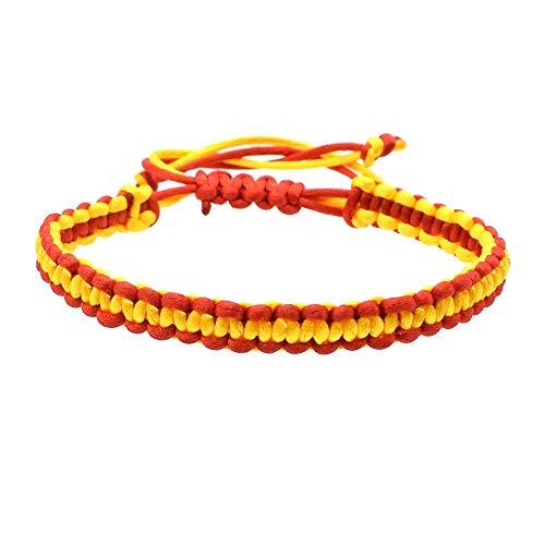 BDM Pulsera de Hilo Trenzado con los Colores de la Bandera de España, Brazalete Rojo y Amarillo, un complemento de Moda Unisex para Hombre y Mujer con Cierre Ajustable para la muñeca de cordón
