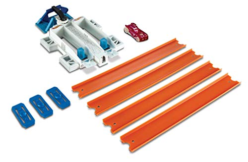 Hot Wheels DJD68 Track Builder Basis Set Doppelspur Starter, Trackset Spielset mit Zubehör, inkl. 1 Spielzeugauto, ab 6 Jahren