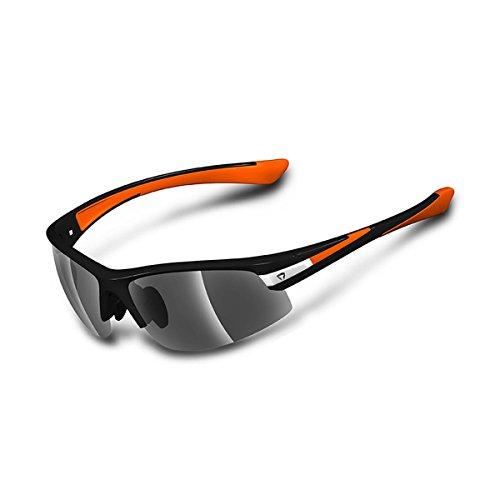 Briko Darwin - Gafas de Ciclismo Unisex, Color Negro/Naranja