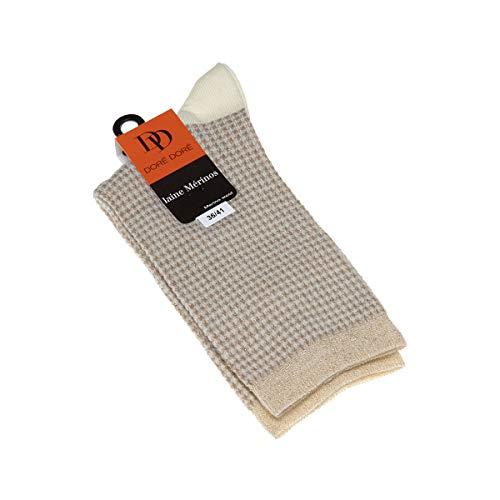 Dore Dore Socke über das Kalb - 1 paar - verstärkte Ferse - Verstarkte zehen - Flachnaht - ohne Frotte - Hahnentrittmuster - Fine - Laine - Ecru - DD - 36/41