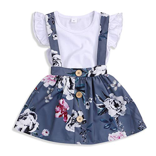 Baby Girls Skirts Set Ruffle Romper +Floral Overall Dress Button Strap Tutu Skirts Birthday Suspender Outfits (White +Gray, 12-18 Months)