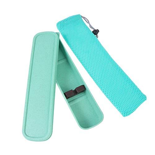 Cabilock Geschirrtasche Tragbar Reisegeschirr Aufbewahrungsbox Fall Besteckbox mit Tasche für Schreibwaren Stäbchen Löffel Gabel Besteck (Grün)