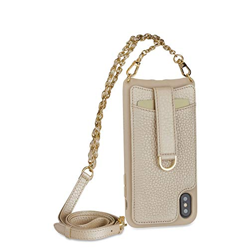 Vaultskin Victoria Crossbody iPhone Leather Wallet Case, Fashionable Bumper for Cards and Cash - Holds up to 8 Cards (iPhone X/Xs, Champagne, Chain & Leather Strap)