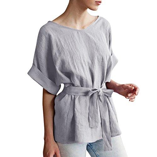Alikeey Dames zomer herfst lange mouwen casual kimono V-hals katoen linnen top met knoopriem losse tuniek