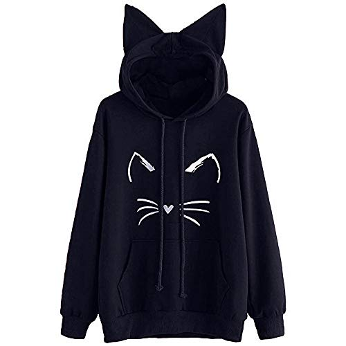 GreatestPAK Damen Hoodie Katze Ohr Solid Sweatshirt mit Kapuze Pullover Langarm Tops Bluse M (Büste:98cm), Marine_7