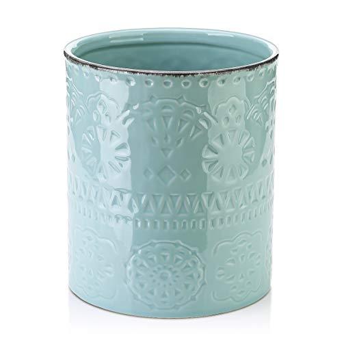 """LIFVER Kitchen Utensil Holder, 7.2"""" Large Utensil Holders for Countertop, Ceramic Utensils Crock, Stable and No Wobbling, Farmhouse Utensil Caddy for Kitchen Decor, Blue"""