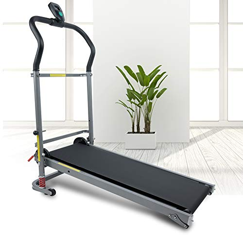AYNEFY Fitness Laufband,Klappbares Laufband Mechanische Unterstützung des zusammenklappbaren Laufbandes Motorisierte Power Running Fitness-Maschine